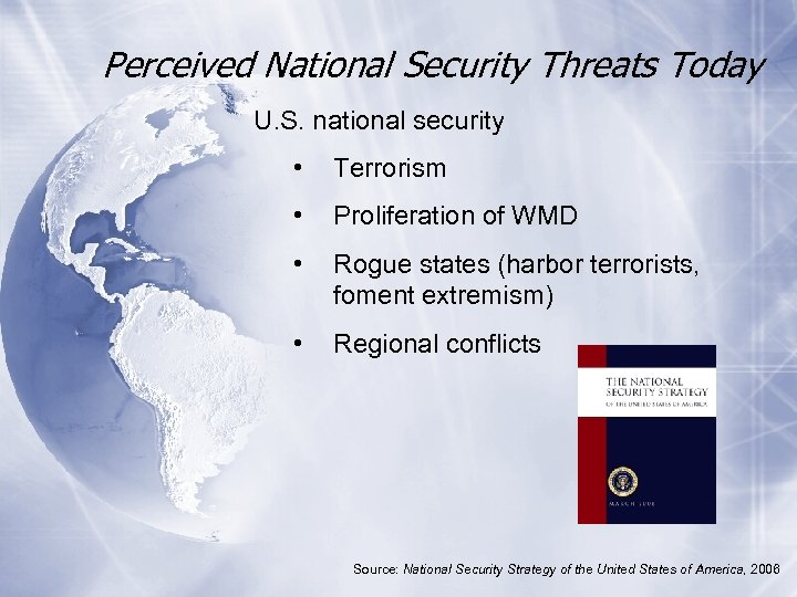 Perceived National Security Threats Today U. S. national security • Terrorism • Proliferation of