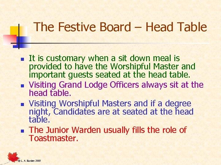 The Festive Board – Head Table n n It is customary when a sit
