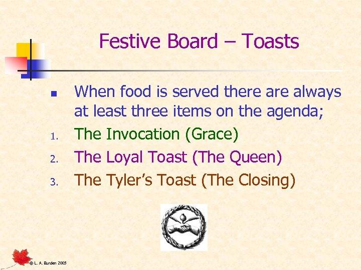 Festive Board – Toasts n 1. 2. 3. © L. A. Burden 2005 When