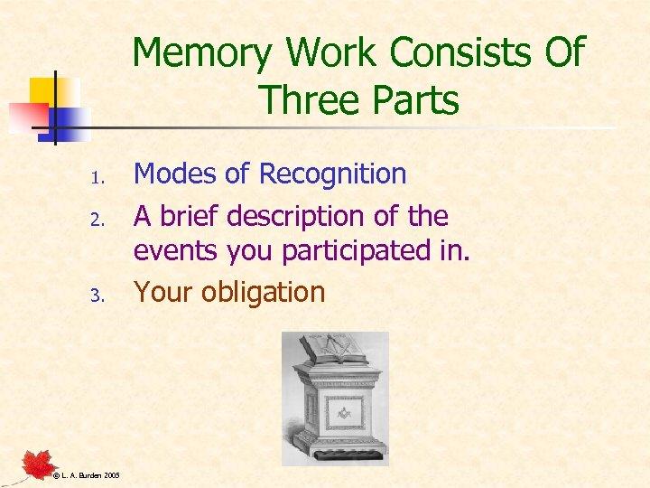 Memory Work Consists Of Three Parts 1. 2. 3. © L. A. Burden 2005