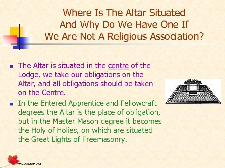 Where Is The Altar Situated And Why Do We Have One If We Are