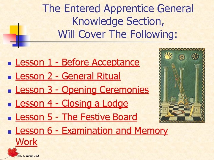 The Entered Apprentice General Knowledge Section, Will Cover The Following: n n n Lesson