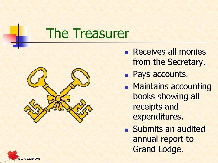 The Treasurer n n © L. A. Burden 2005 Receives all monies from the