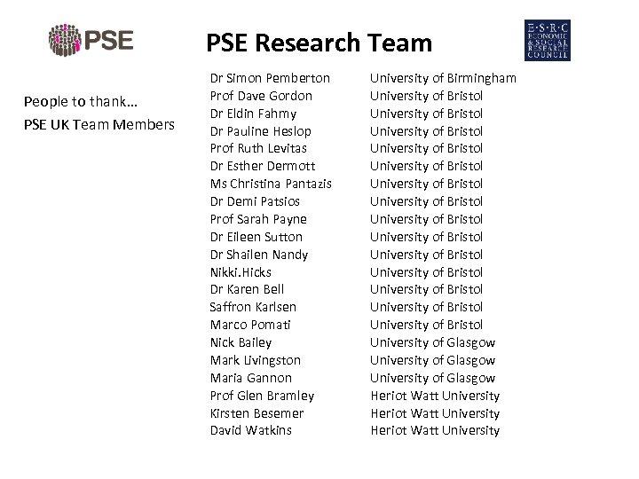 PSE Research Team People to thank… PSE UK Team Members Dr Simon Pemberton Prof