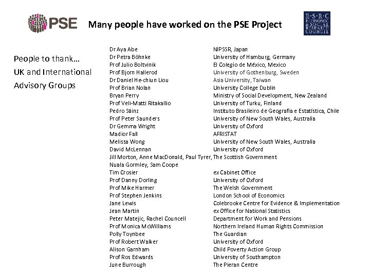 Many people have worked on the PSE Project People to thank… UK and International