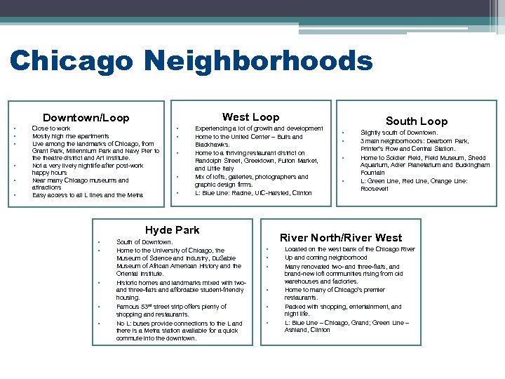 Chicago Neighborhoods West Loop Downtown/Loop • • • Close to work Mostly high rise