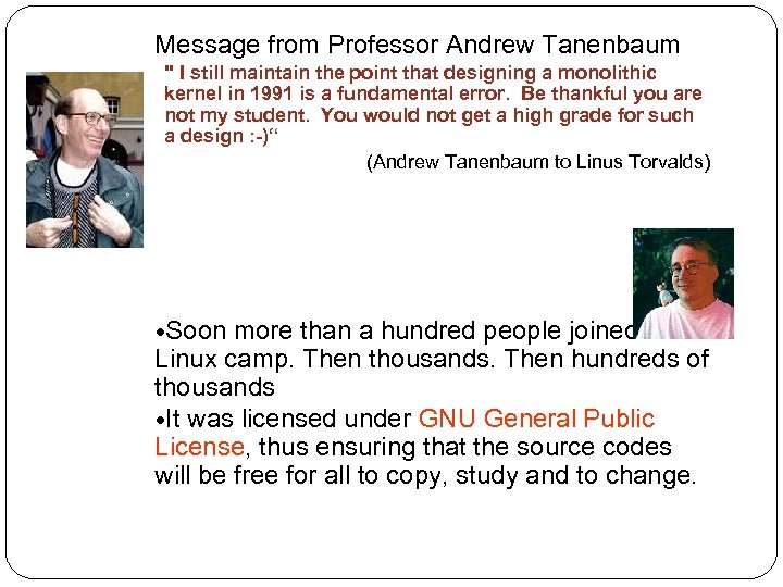 Message from Professor Andrew Tanenbaum
