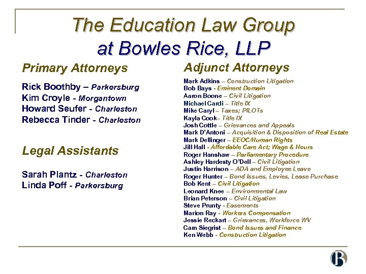 The Education Law Group at Bowles Rice, LLP Primary Attorneys Rick Boothby – Parkersburg