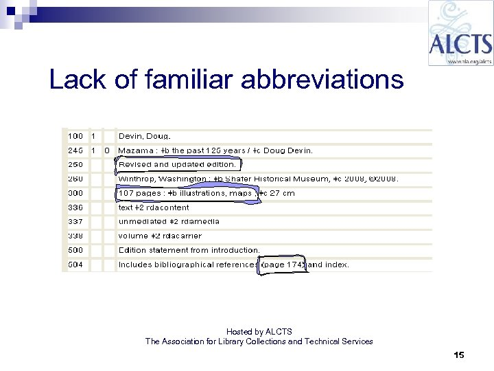 Lack of familiar abbreviations Hosted by ALCTS The Association for Library Collections and Technical