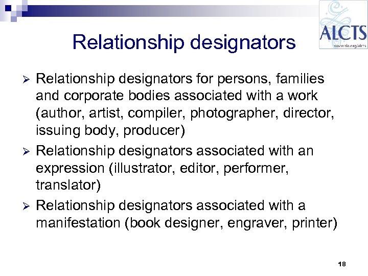 Relationship designators Ø Ø Ø Relationship designators for persons, families and corporate bodies associated