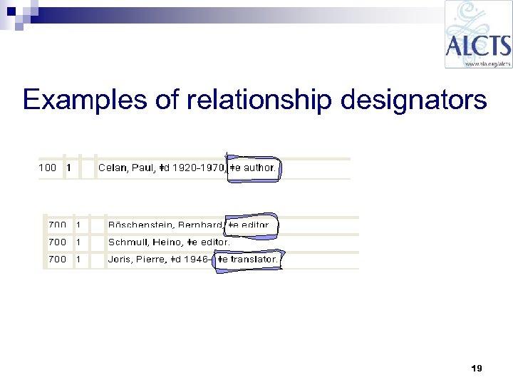 Examples of relationship designators 19