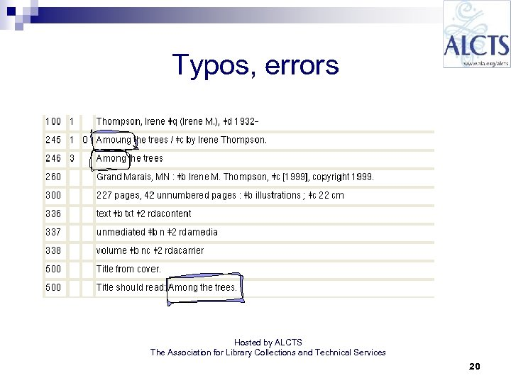 Typos, errors Hosted by ALCTS The Association for Library Collections and Technical Services 20