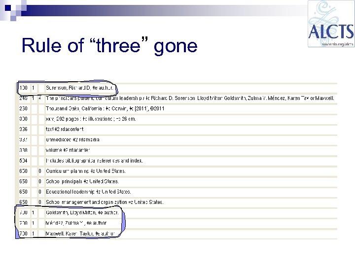 "Rule of ""three"" gone"