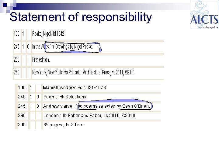 Statement of responsibility