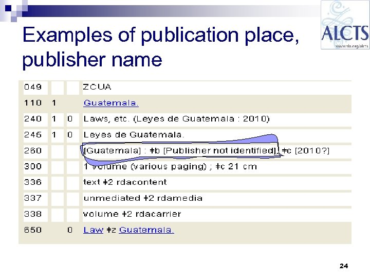 Examples of publication place, publisher name 24