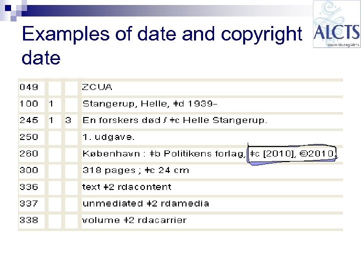 Examples of date and copyright date