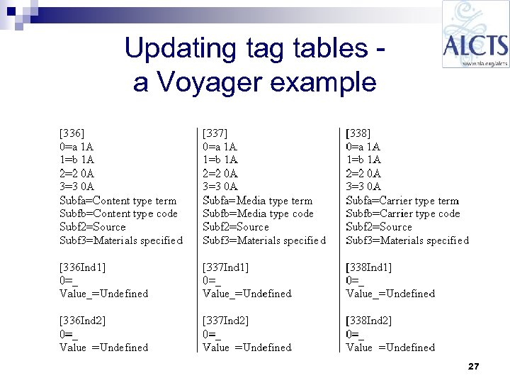 Updating tables a Voyager example 27