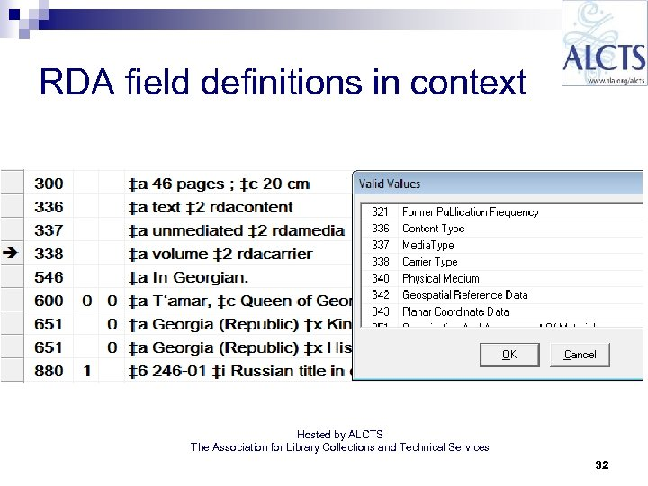 RDA field definitions in context Hosted by ALCTS The Association for Library Collections and