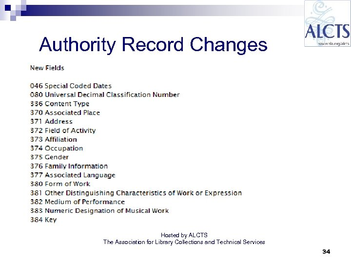 Authority Record Changes Hosted by ALCTS The Association for Library Collections and Technical Services