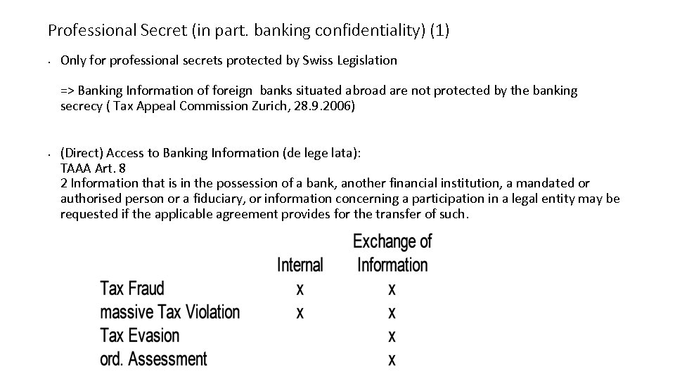 Professional Secret (in part. banking confidentiality) (1) • Only for professional secrets protected by