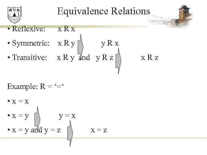 Equivalence Relations • Reflexive: x. Rx • Symmetric: x R y • Transitive: y.