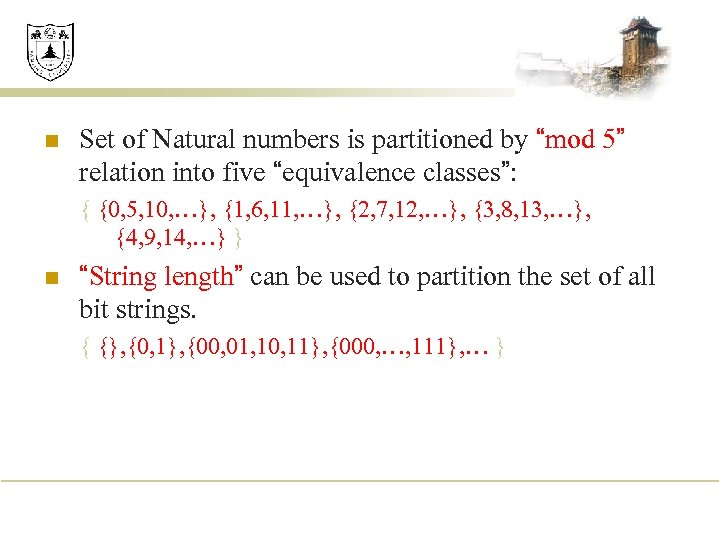 """n Set of Natural numbers is partitioned by """"mod 5"""" relation into five """"equivalence"""