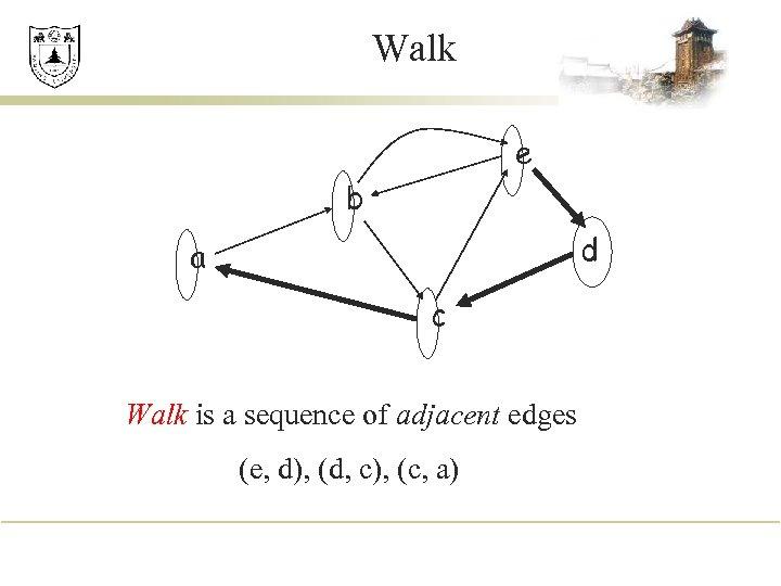 Walk e b d a c Walk is a sequence of adjacent edges (e,