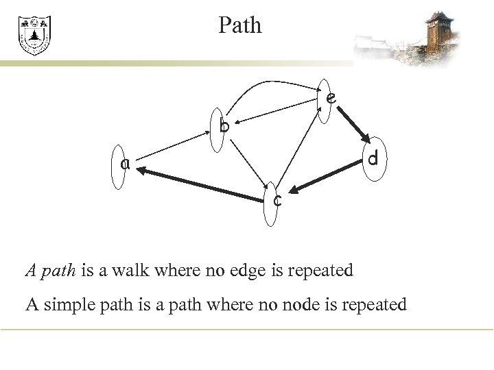 Path e b d a c A path is a walk where no edge
