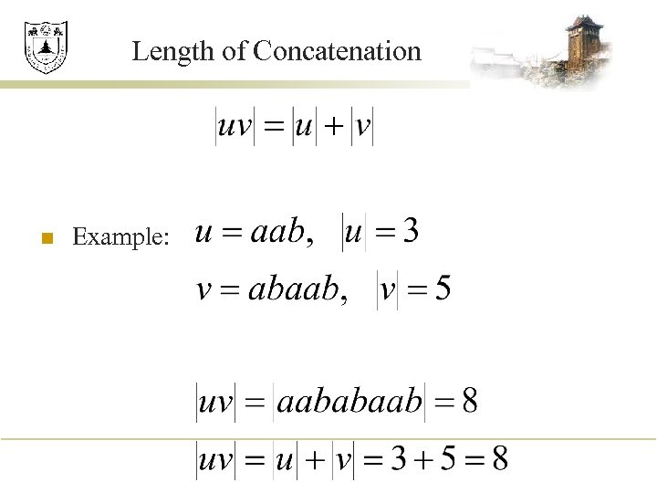 Length of Concatenation n Example: