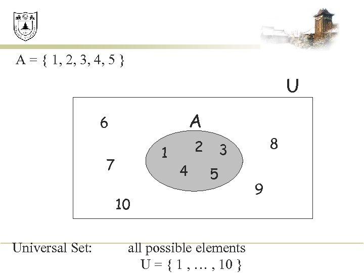 A = { 1, 2, 3, 4, 5 } U A 6 1 7