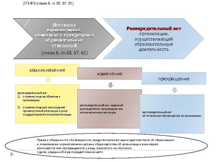 273 ФЗ (глава 6, ст. 53, 57, 61) Основание возникновения, изменения и прекращения образовательных