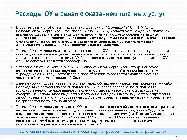 Расходы ОУ в связи с оказанием платных услуг В соответствии с п. 4 ст.