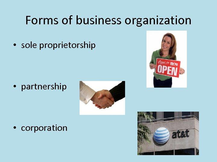 Forms of business organization • sole proprietorship • partnership • corporation