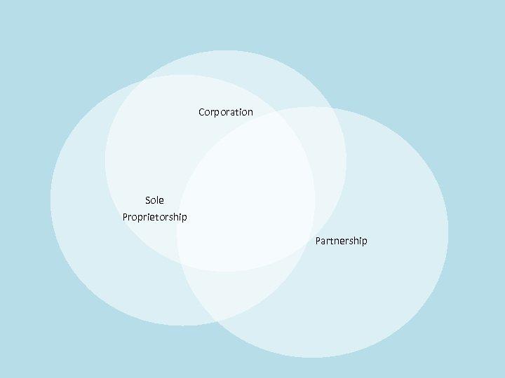 Corporation Sole Proprietorship Partnership