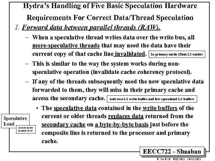Hydra's Handling of Five Basic Speculation Hardware Requirements For Correct Data/Thread Speculation 1. Forward