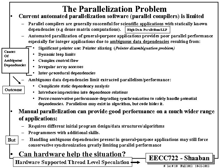 The Parallelization Problem • Current automated parallelization software (parallel compilers) is limited – Parallel