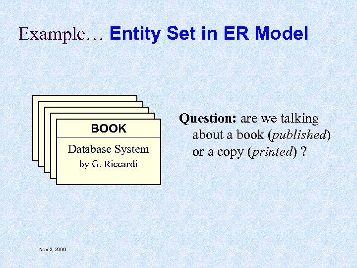 Example… Entity Set in ER Model BOOK Database System by G. Riccardi Nov 2,