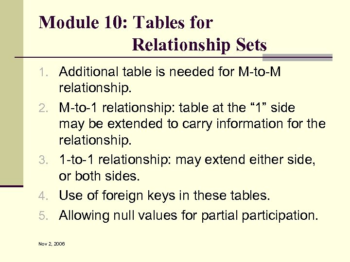 Module 10: Tables for Relationship Sets 1. Additional table is needed for M-to-M 2.