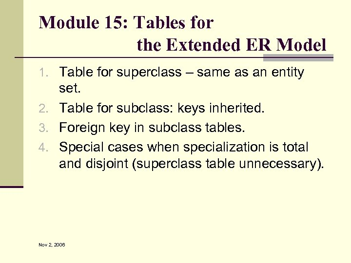 Module 15: Tables for the Extended ER Model 1. Table for superclass – same
