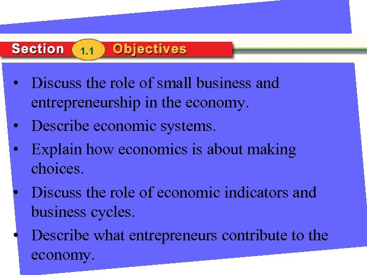 1. 1 • Discuss the role of small business and entrepreneurship in the economy.