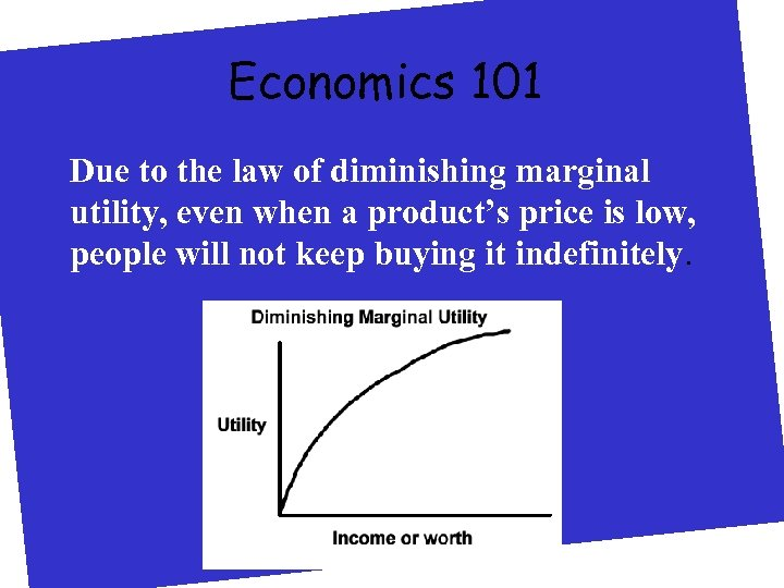 Economics 101 Due to the law of diminishing marginal utility, even when a product's