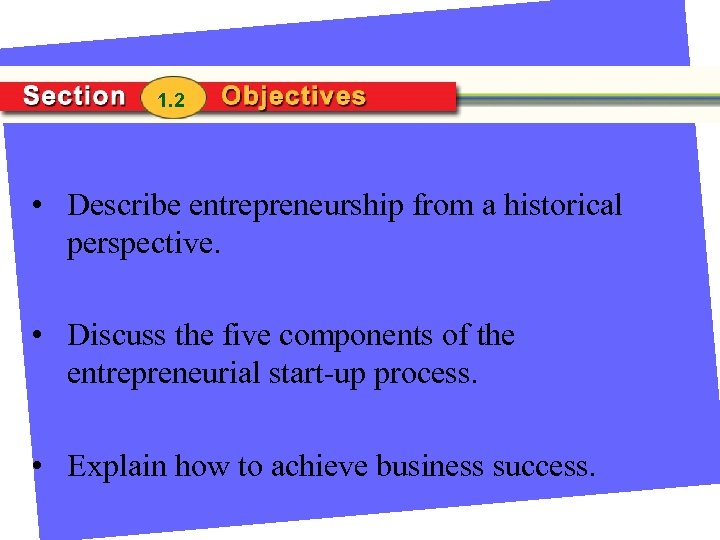 1. 2 • Describe entrepreneurship from a historical perspective. • Discuss the five components