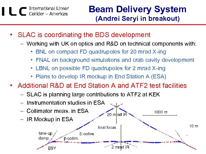 International Linear Collider – Americas Beam Delivery System (Andrei Seryi in breakout) • SLAC