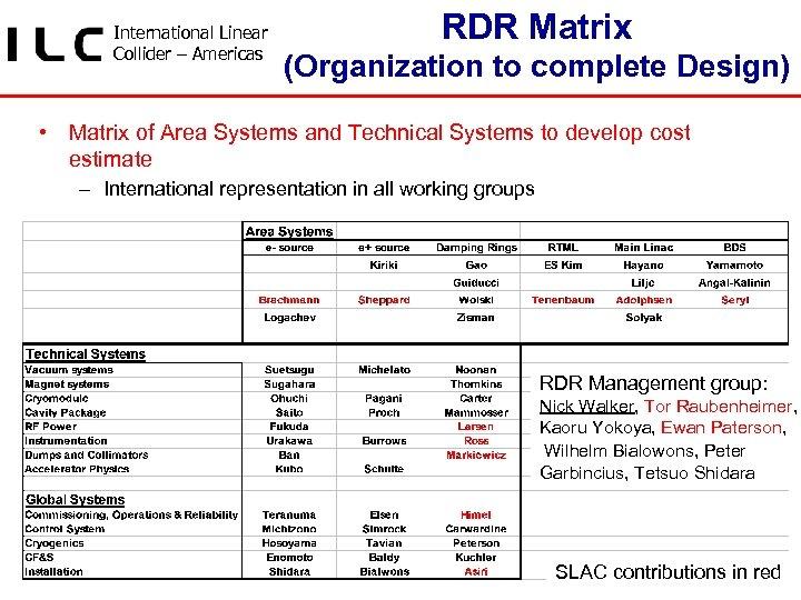 International Linear Collider – Americas RDR Matrix (Organization to complete Design) • Matrix of