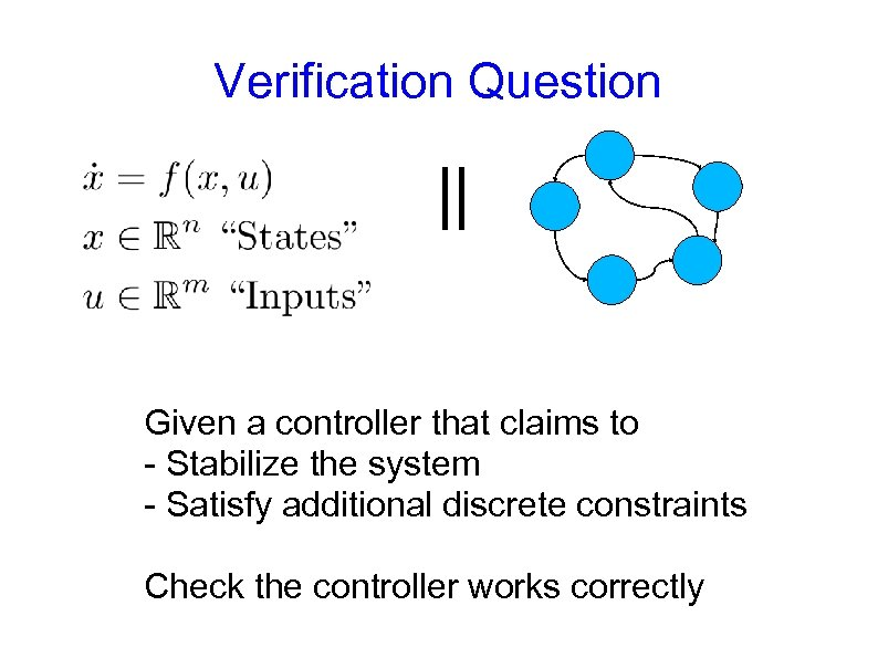 Verification Question || Given a controller that claims to - Stabilize the system -