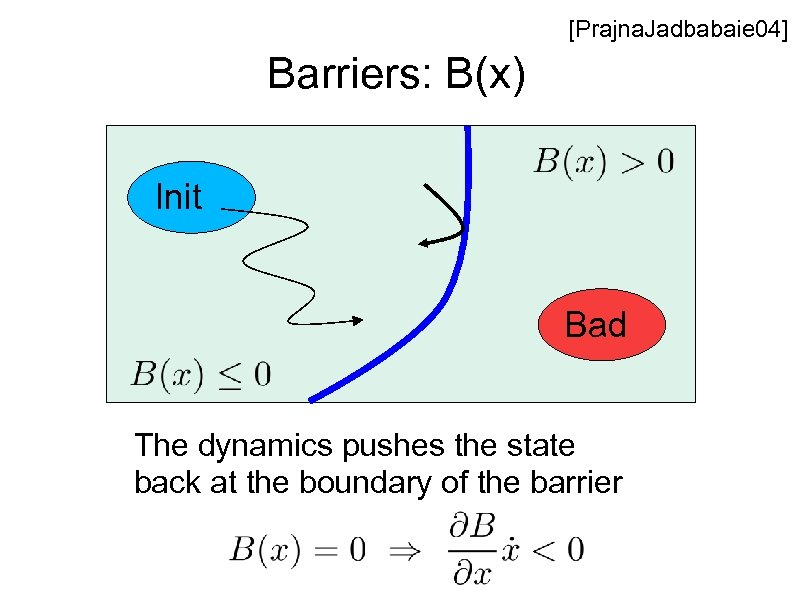 [Prajna. Jadbabaie 04] Barriers: B(x) Init Bad The dynamics pushes the state back at