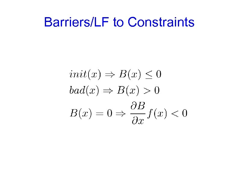 Barriers/LF to Constraints