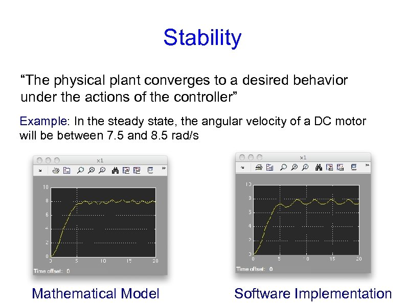 "Stability ""The physical plant converges to a desired behavior under the actions of the"