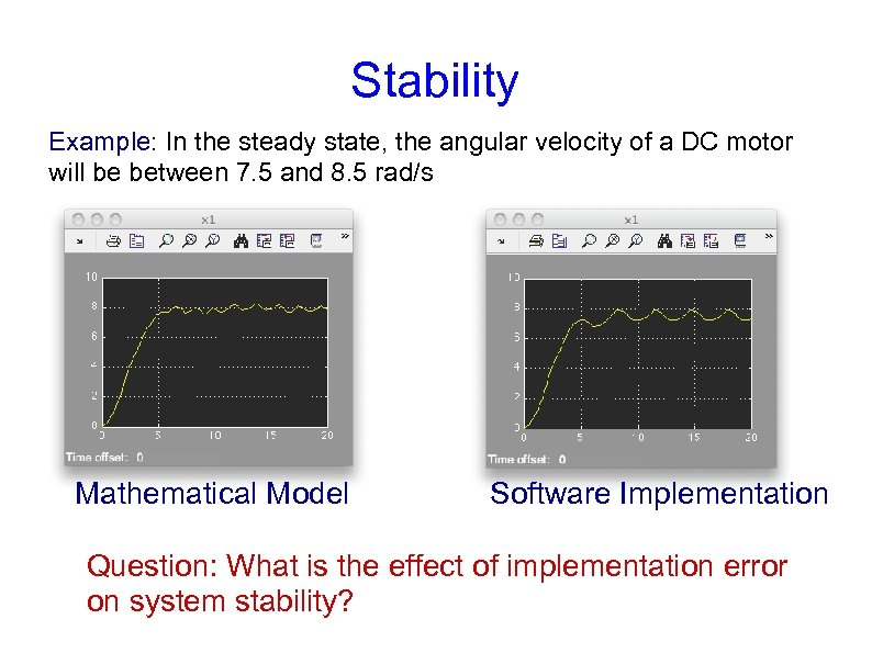 Stability Example: In the steady state, the angular velocity of a DC motor will