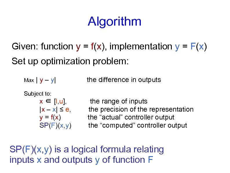 Algorithm Given: function y = f(x), implementation y = F(x) Set up optimization problem: